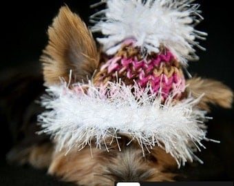 Pink and Brown Knit Hat for Dogs