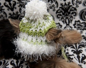 Christmas Knit Hat for dogs - Lime Green and White
