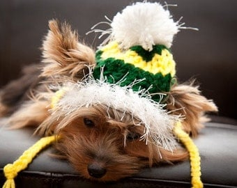 Green and Yellow Dog snow Hat