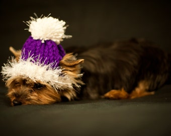 Hat for Dogs - Purple and White