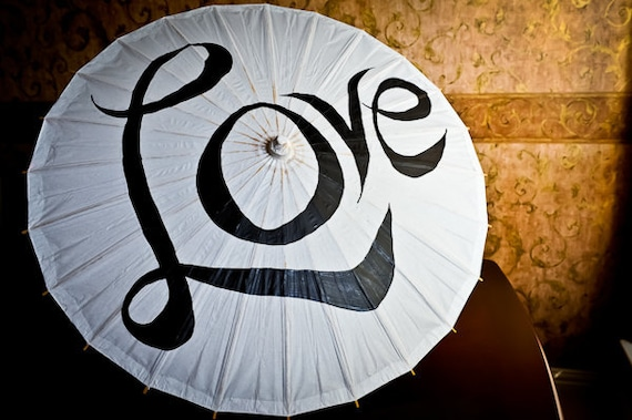 Large White Parasols or Umbrella for Weddings with Love - Ready to Ship
