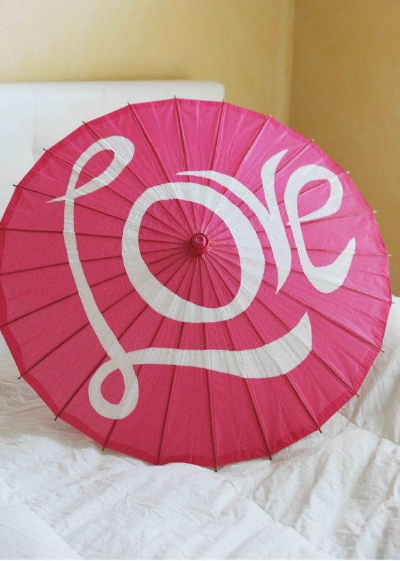 Large Hot Pink Parasols or Umbrella for Weddings with Love-- Ready to ship