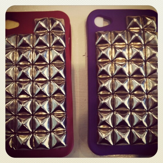 Free US Shipping Purple with Silver pyramid Studs Iphone 4g 4s Cover Case
