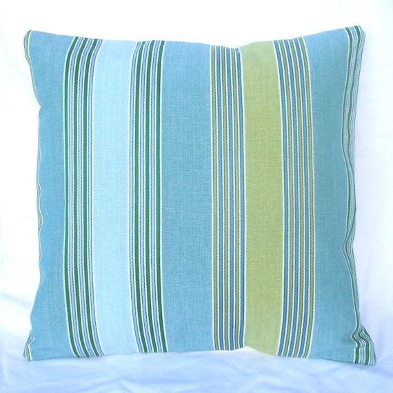 SALE - Cushion Cover - Paradise Beach Pool Stripe - 16 x 16 Inches