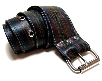 STITCHED Recycled Bike Tube Belt with Red Thread