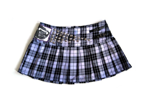 SALE Studded Plaid Punk School Girl Skirt by Rogue City Killers