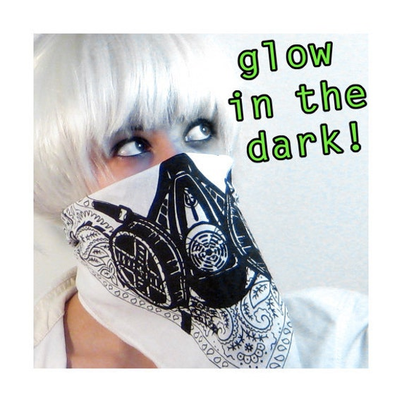 Glow in the Dark White Gasmask Bandana