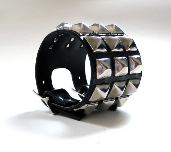 Punk Studded Shiny Cuff Bracelet Faux-Leather by Rogue City Killers