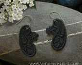 Black Lace Earrings - Paisley and Flower Venetian Lace Appliques on Silver Ear Wires (or choose color)