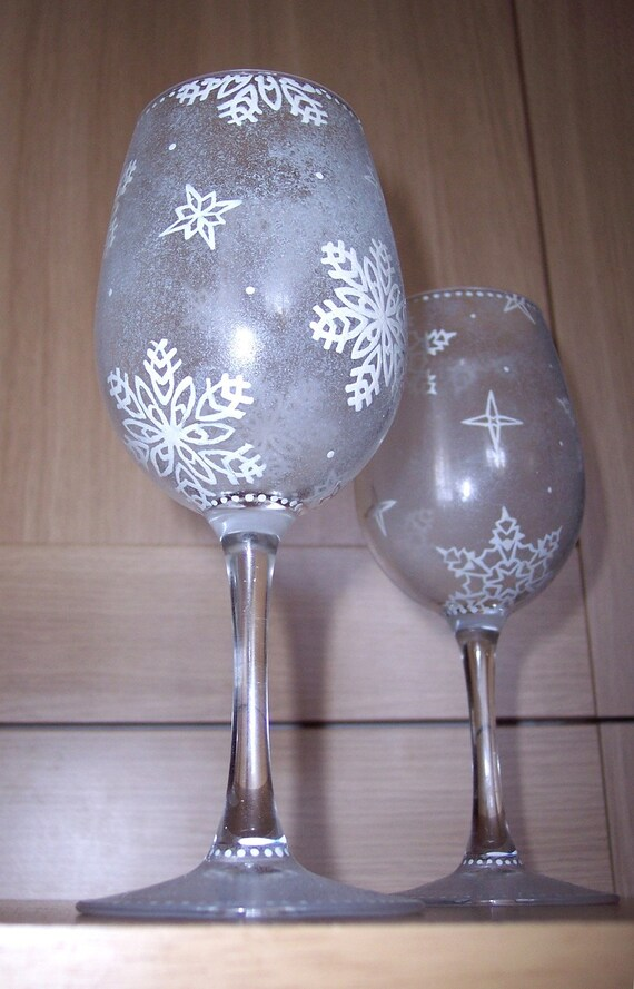 Hand Painted Wine Glasses: Winter Wonderland