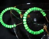Green Wooden Beaded Hoop Earrings (33) - Buy Multiples & Save - by MarysPride