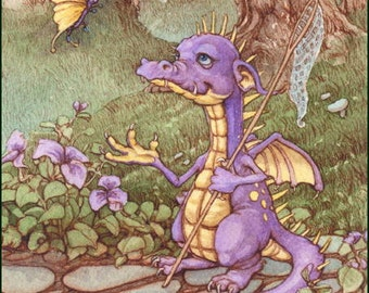 Spike Dragon Butterfly and Adoration 8.5x11 Signed Print set of 2