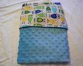 CHRISTMAS SALE - Urban Zoologie Blue Owls Blanket with Blue Minky - LARGE - Free Shipping