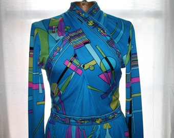 Vintage Maurice Aqua Blue Maxi Dress