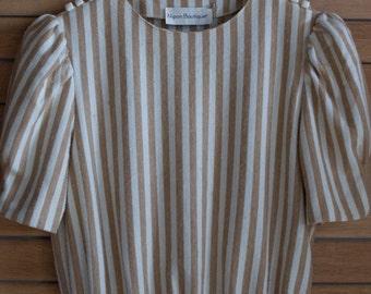 Vintage 1980s Nipon Boutique Wool Striped Dress