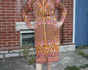 Vintage 1970s Signed Maurice Brown Orange Pink Dress