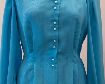 Vintage Turquoise Blue 80s Blouse