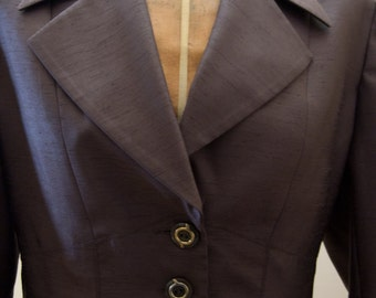 Vintage 90s Rina Rossi Chocolate Brown Raw Silk Suit/ Blazer and Skirt