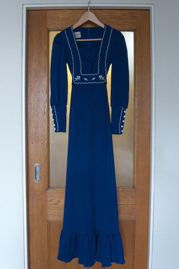 Vintage 1970s Blue Maxi Dress