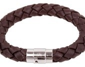 "10mm Brown Braided Leather Wrist Bracelet Stainless Steel Magnetic Lock 6"" - 9"" You Choose Length BB1000BRN_MAS"