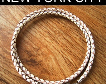 """4mm White Braided Bolo Leather Cord Necklace Silver Clasp 14"""" inches - 36"""" inches. You choose length. LCB0400WHTS"""