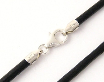 "2mm Black Leather Cord Necklace Silver Clasp 14"" inches - 36"" inches N2BLKOO_SS"