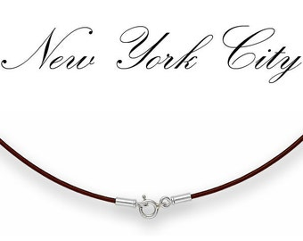 """1mm Brown Leather Cord Necklace Silver Clasp 14"""" -  36"""" inches N1BRNRR_SS"""