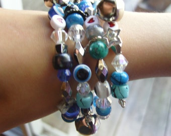 Gypsy Baubles and Bells Turquois and Blues Wrap Bracelet