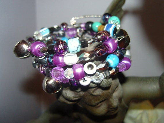 Gypsy Baubles and Bells Purple and Blues Wrap Bracelet