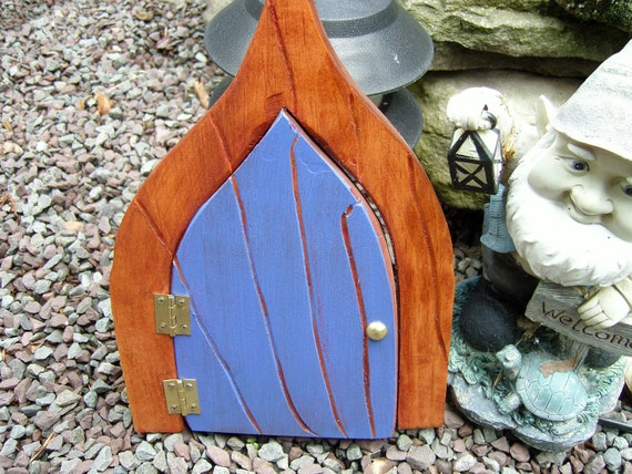 Fairy Garden Door, Deep Blue with Red Sparkle for your Gnomes, Fairies, Elves, Cupids and other Mystical Beings