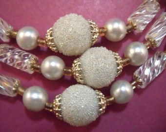Triple strand faux pearl and glass necklace and earrings