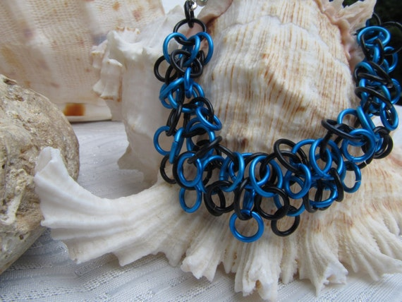 Black with Blue shaggy loops chainmaille bracelet