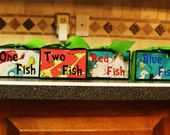 Custom childs room decor Dr. Seuss quote blocks One Fish Two Fish Red Fish Blue Fish