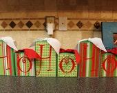 NEW ITEM CHRISTMASho ho ho santa block set with swarovski crystals and ribbon