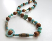 Aqua Wood & Shell Eco Friendly Paper Bead Necklace