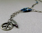 Peace - Marbled Blue Purple Upcycled Paper Bead Necklace