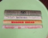Vintage Advertising Rulers Wooden Wonder Bread Hy-Vee Grocery Store Metal Ruler Set of 4