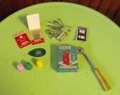Vintange Set of Sewing Items: Singer Thimbles, Montgomery Ward Sewing Needles, Needle Threader