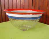 Vintage Depression Glass Mixing Bowl Red White and Blue Stripes