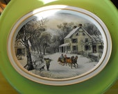 Vintage Currier and Ives The American Homestead-Winter Metal Tray