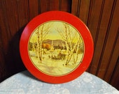 Vintage Round Christmas Candy Tin Winter Wonderland Scene