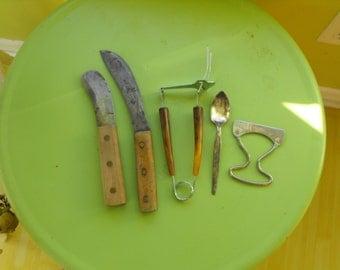 SALE Vintage Village Blacksmith Knife Bolen Knife Bakelite Serving Fork
