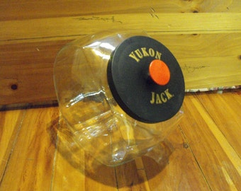 SALE Vintage Advertising Yukon Jack Old Fashioned Glass Cookie Candy Jar