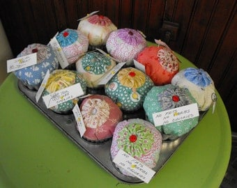 Handmade Homemade Cupcake Pincushions with Tin Jello Mold Bottoms GREAT Gifts
