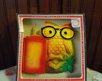 Vintage 1970 Miller Studio Chalkware Owl Notepad Wall Hanging New in the Box