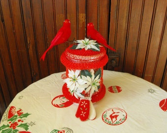 Vintage Handcrafted Poinsetta Candy Dish With Christmas Cardinals and Hand Stitched Felt Mittens Decorations