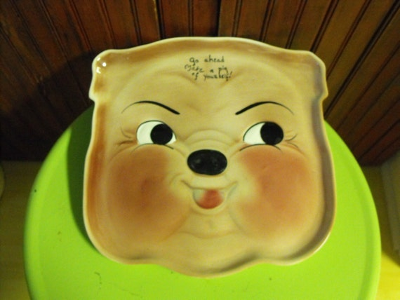 RESERVED for Paul :) Vintage 1956 DeForest of California Pottery Go Ahead Make A Pig of Yourself Platter