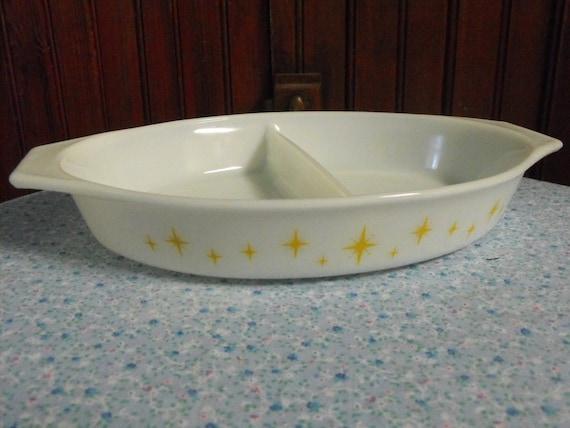 Vintage Pyrex Atomic Gold Star Divided Dish