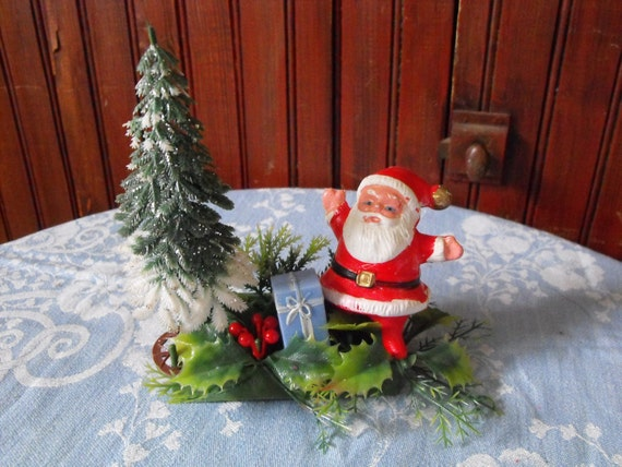 Vintage Santa Claus With Christmas Tree and Presents Celluloid