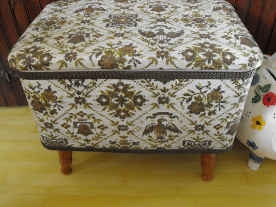 Vintage Redmon Sewing Chest Box Foot Stool Americana Eagle